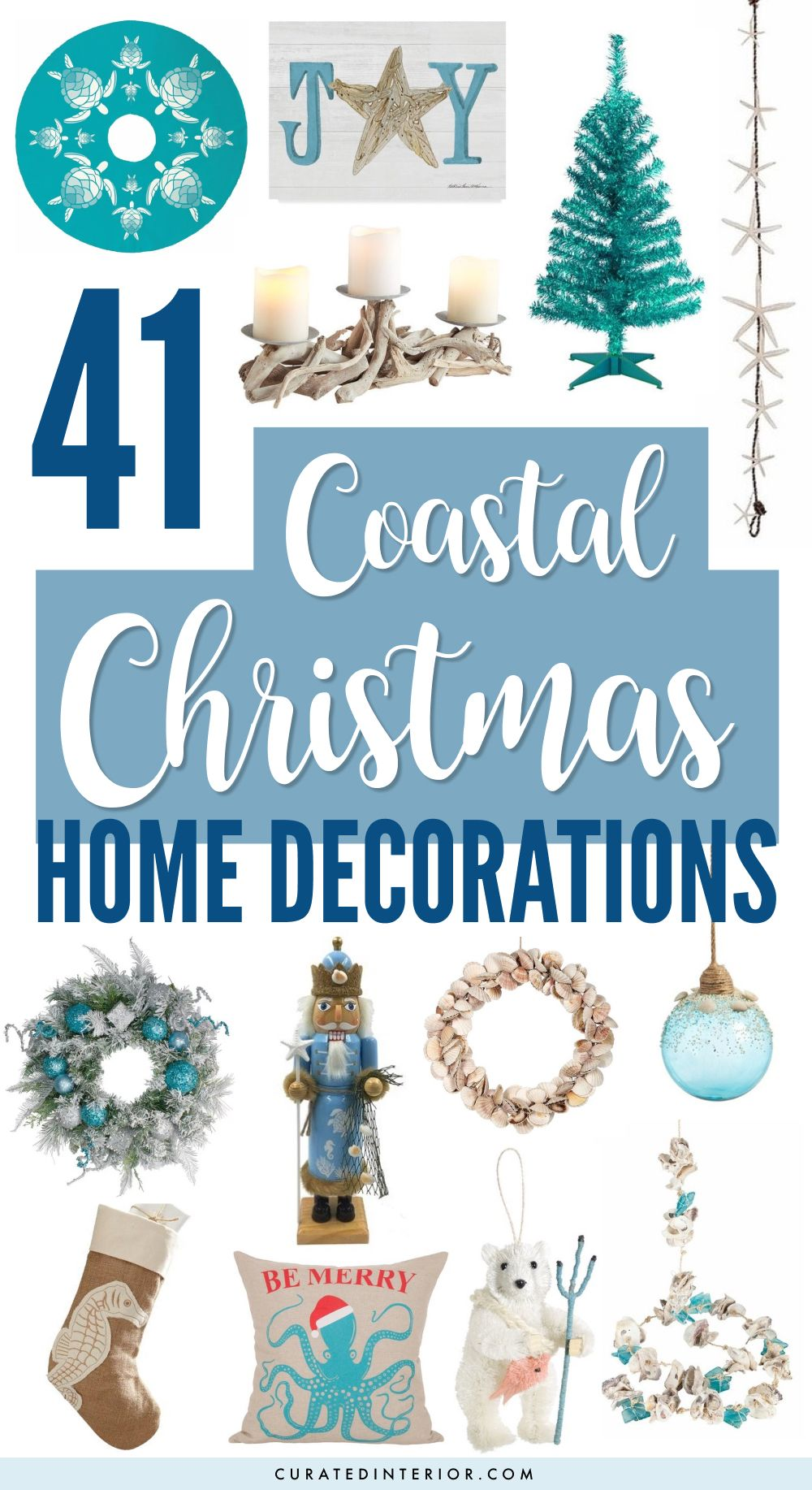 41 Coastal Christmas Home Decorations for Spending time at your Beach Home during the Holidays! #coastaldecor #coastalchristmas #christmasdecor #christmas