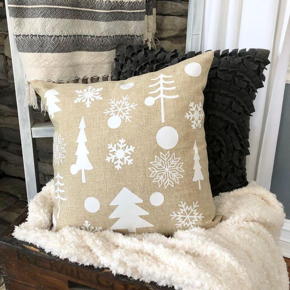 Burlap winter farmhouse pillow via @the_furgstead