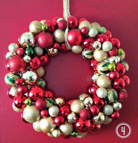 DIY Ornament Christmas Wreath via amygblog
