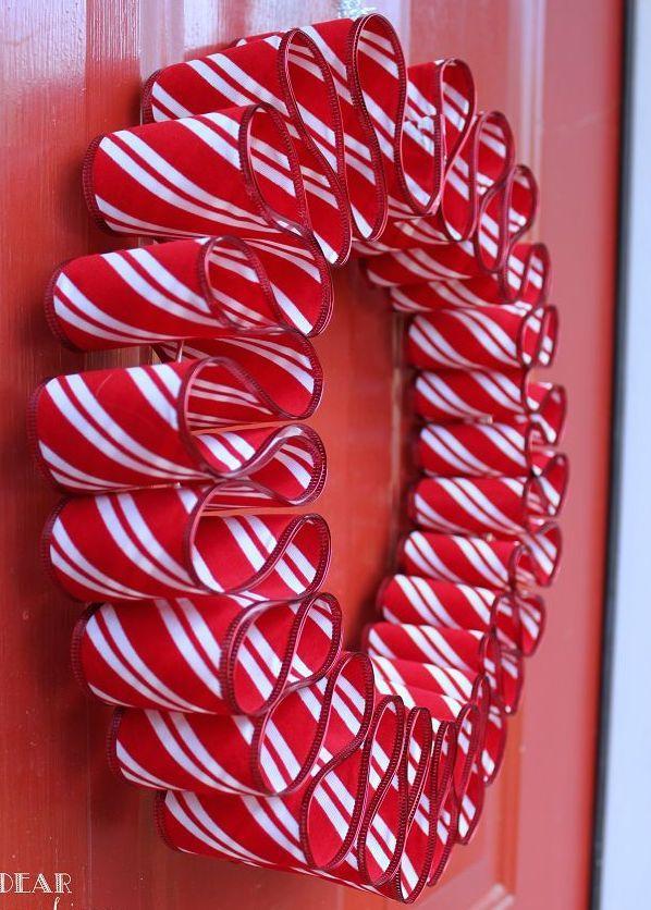 DIY Ribbon Candy Wreath via petalandply