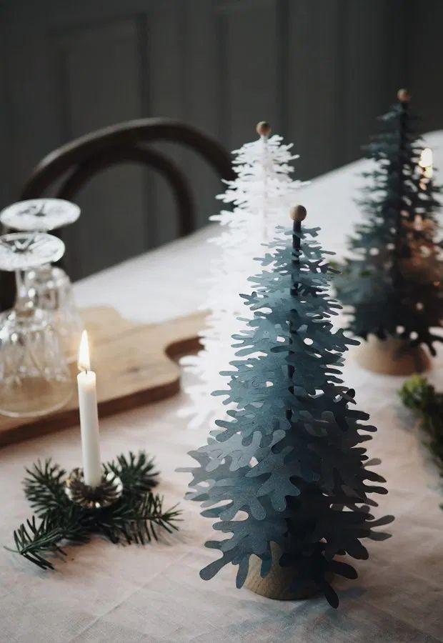 DIY Scandi Paper Trees via thesefourwallsblog - DIY Scandinavian Christmas Decorations