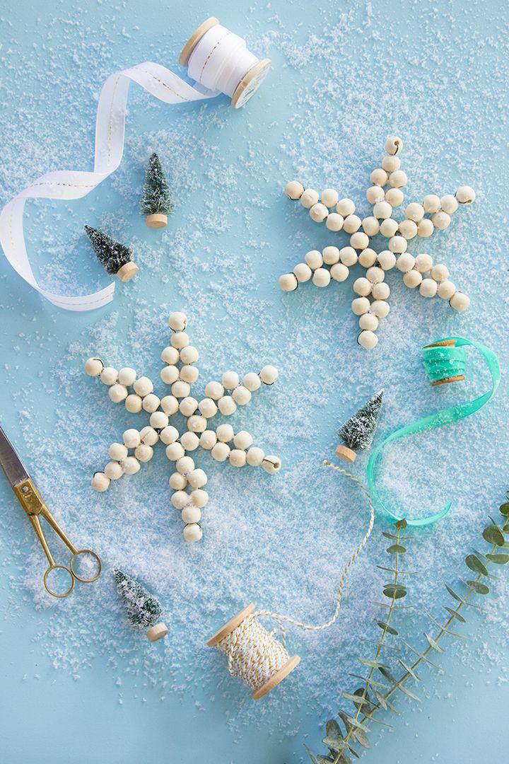 DIY Wood Bead Snowflake Ornament via aliceandlois