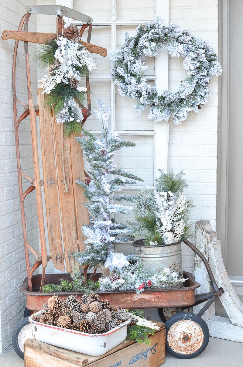 Flocked Evergreen Decor for Winter via sarahjoy