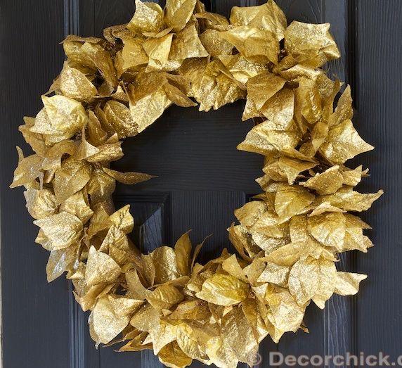 Gold Leaves DIY Dollar Store Wreath via decorchick