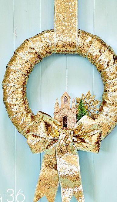 Gold Sequin Christmas Wreath DIY via the36thavenue
