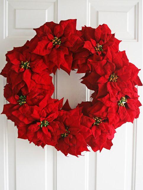 Poinsettia wreath DIY via vanessachristenson