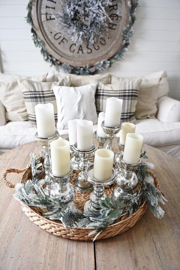 Rustic Farmhouse Winter Coffee Table Centerpiece via lizmarieblog