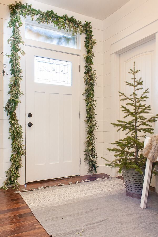 Scandi Christmas Entryway Front Door Garland Decor