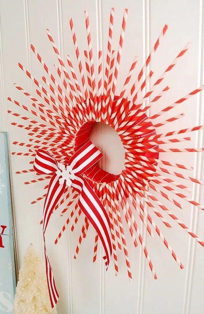 Striped Paper Straw DIY Wreath via tatertotsandjello