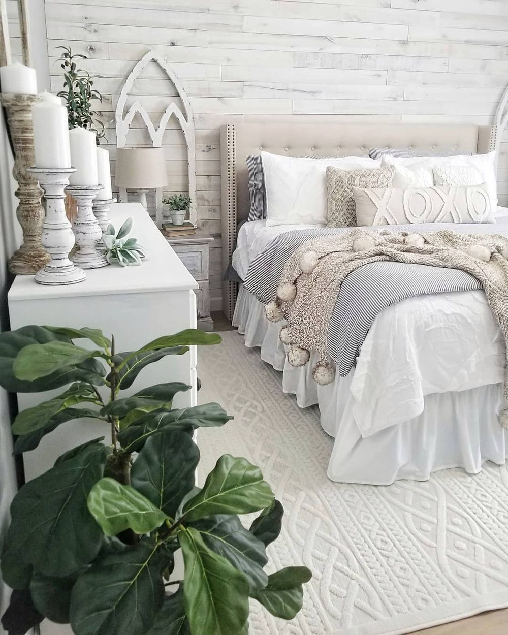 Winter blankets in a farmhouse bedroom @blessed_ranch