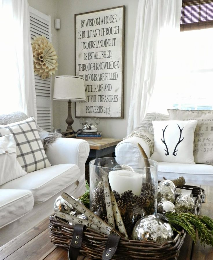 Winter white home decor with antlers pillow
