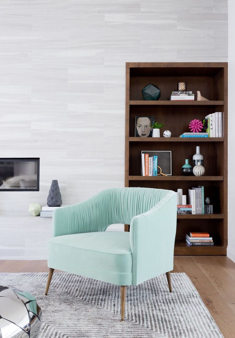 Everything You Need to Know About Accent Chairs, Turquoise Accent Chair via Amy Elbaum Design