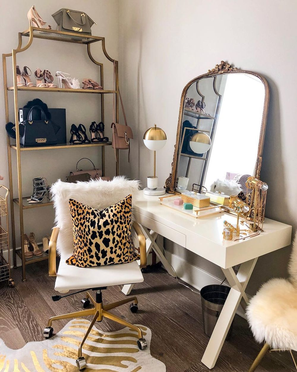 Glam animal print decor on a glam vanity via @hauteofftherack