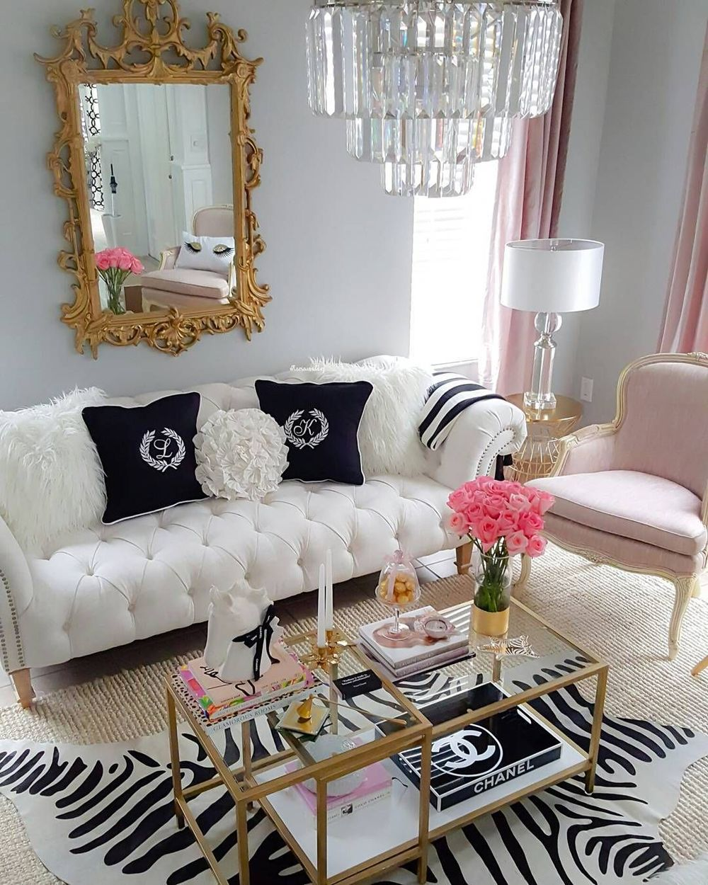 Glam tufted sofa and gold mirror