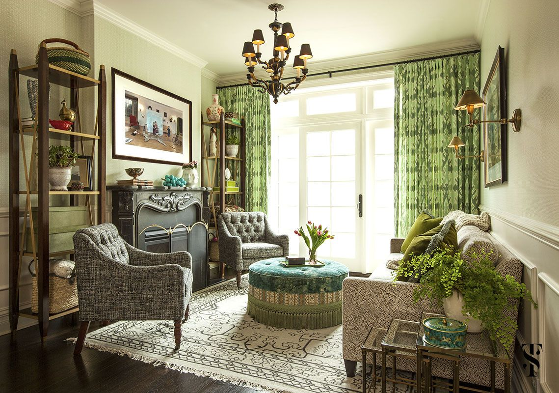 Neo-Trad Green monochrome room via Summer Thornton Design