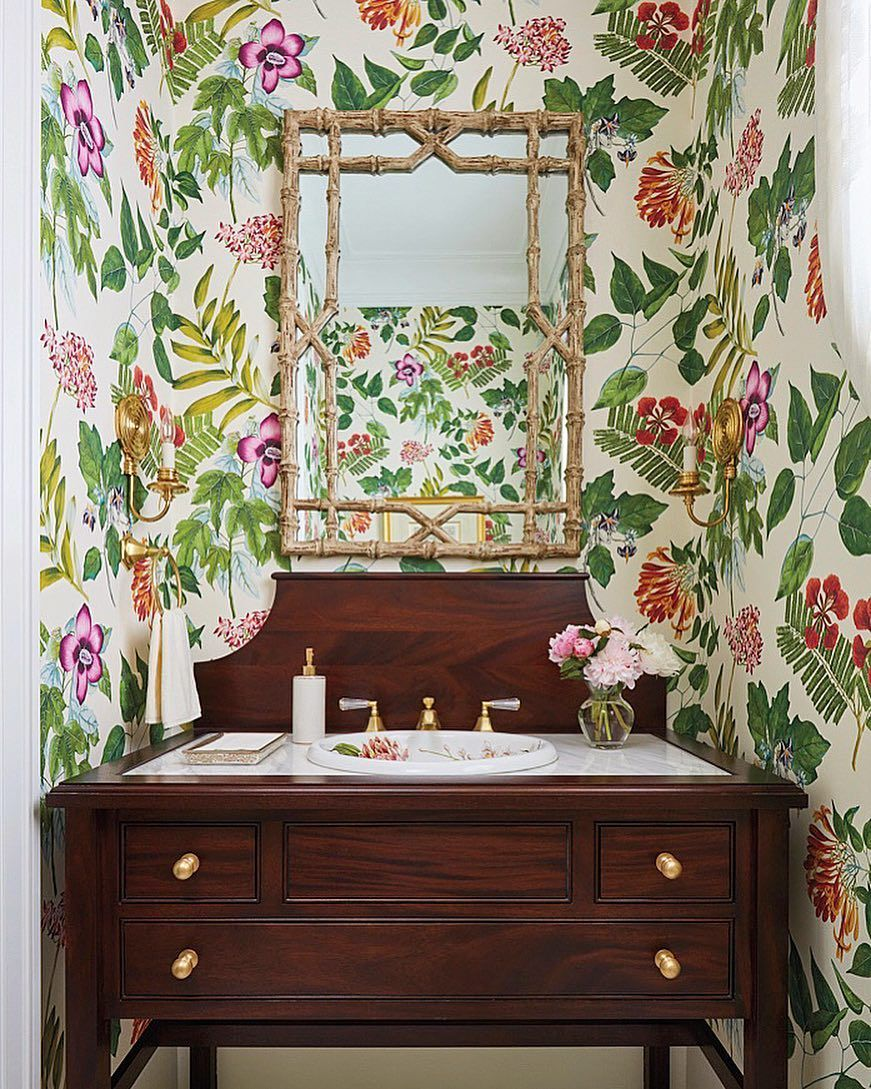 Neo-traditional Bathroom with wood vanity and floral wallpaper via Ellen Kavanaugh