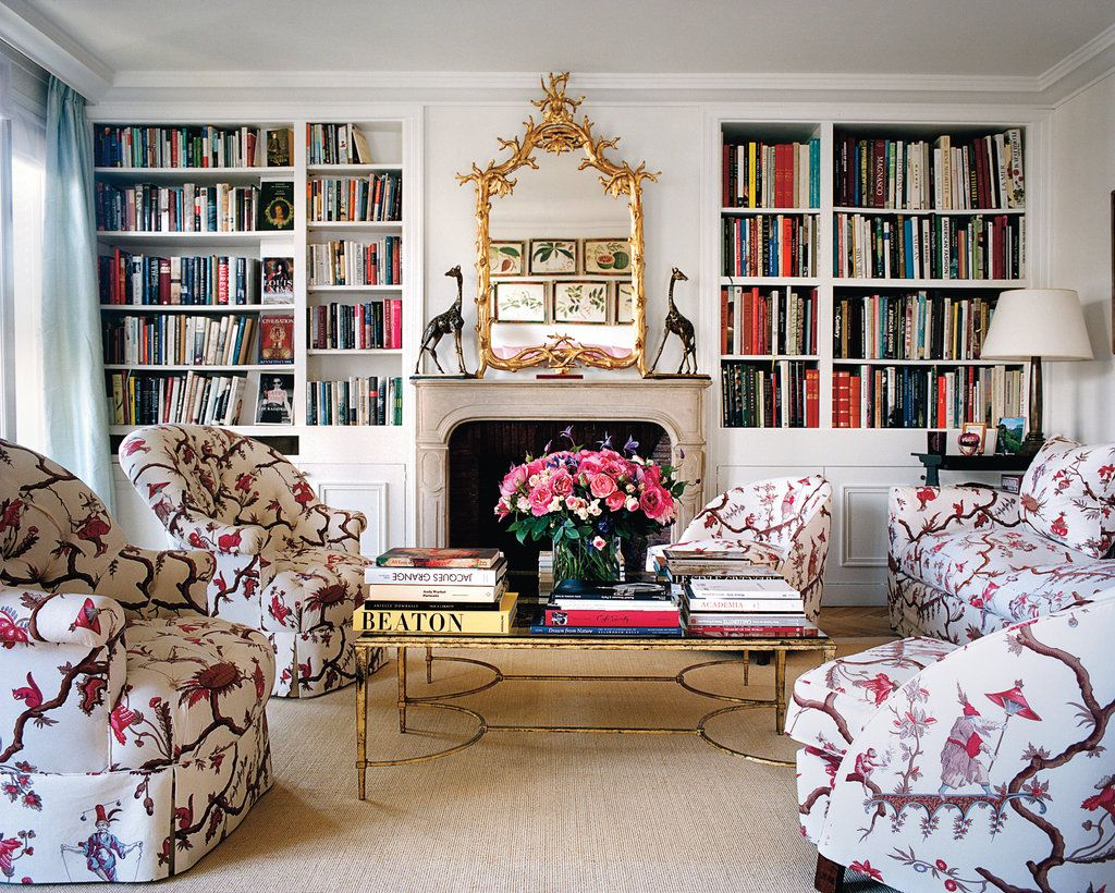Neo-traditional living room with bird pattern upholstered furniture via Lee Radziwill and François Halard for T Magazine