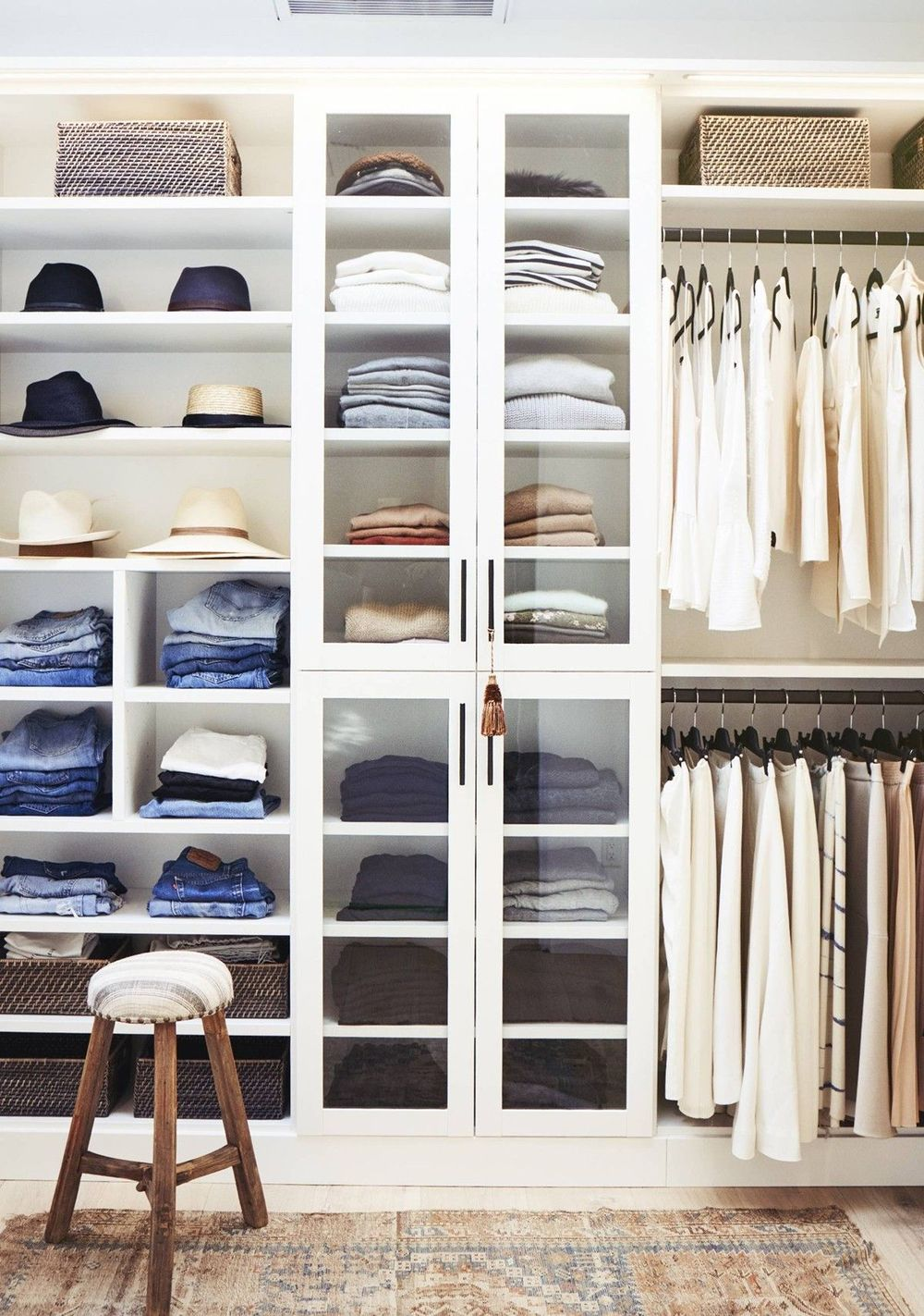 Organized bedroom Closet with a mix of shelves and Rods for Hanging via Studio Mcgee and Justin Coit