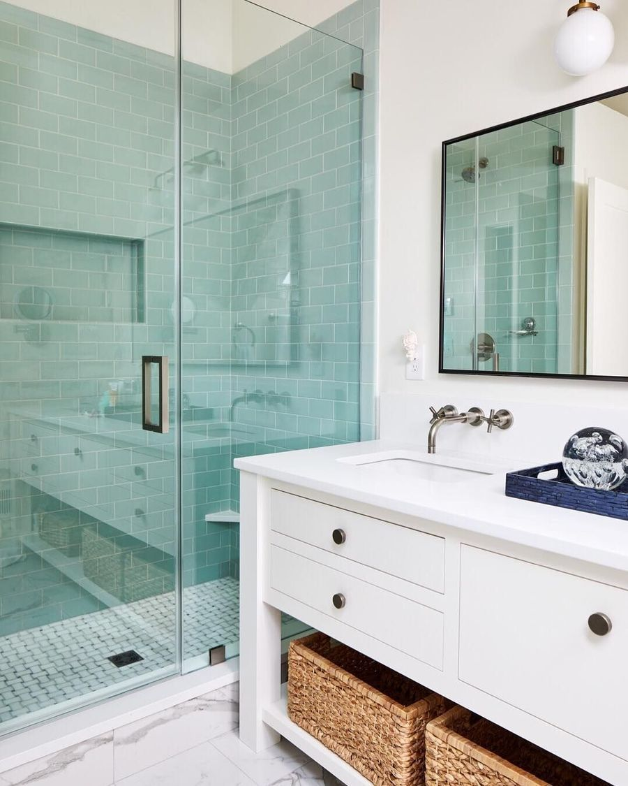 33 Modern Coastal Bathrooms With, Coastal Bathroom Tile Ideas