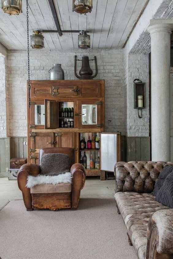 Distressed Ledersessel Vintage Industrial Decor Wohnzimmer