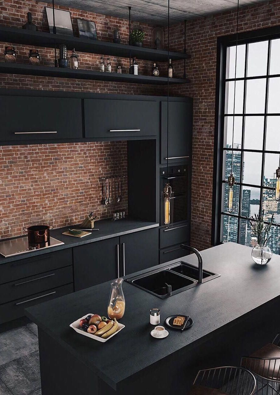 Exposed Brick Kitchen Industrial Decor