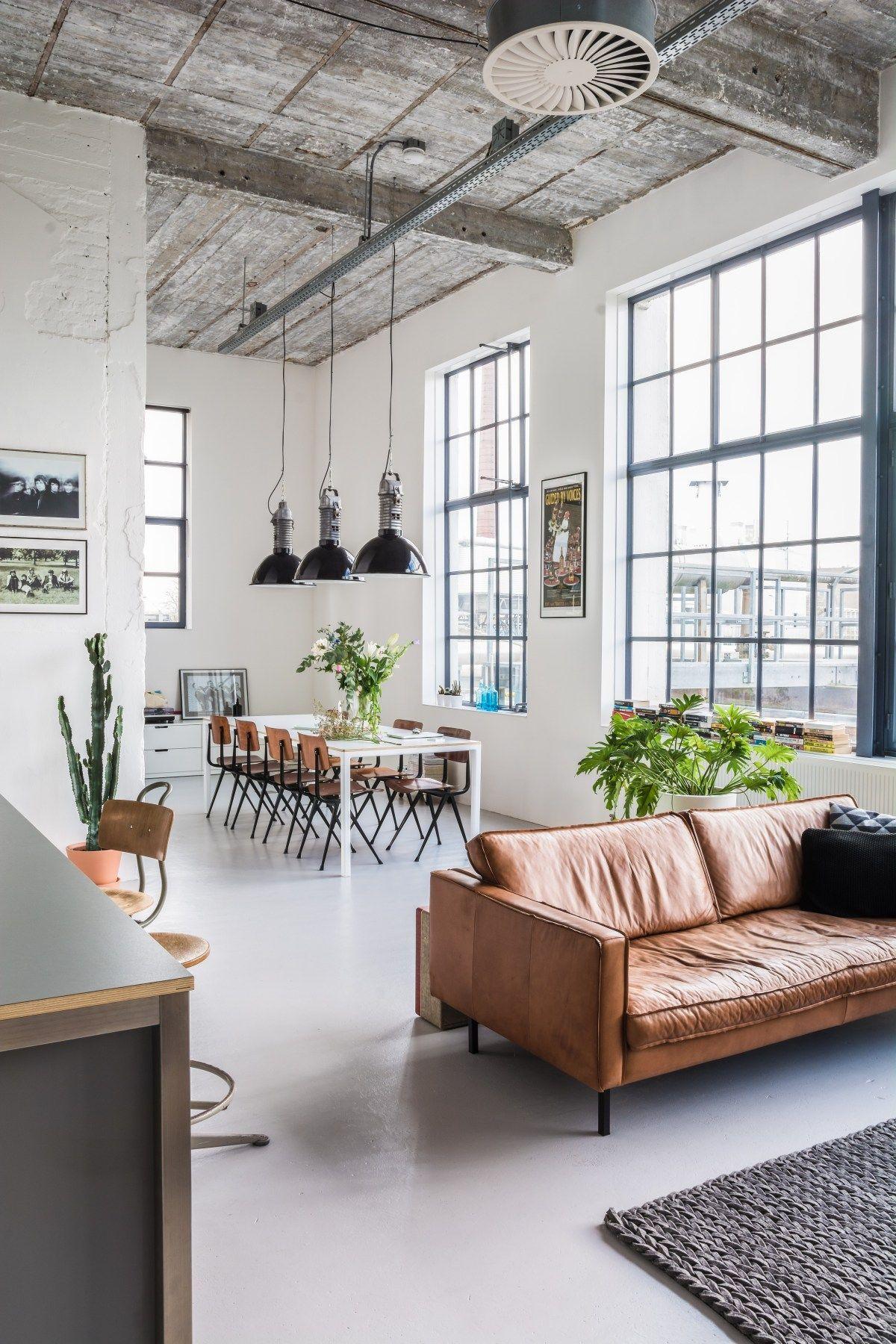 Open Layout Loft Space Industrielles Wohnzimmer Dekor über alleselze