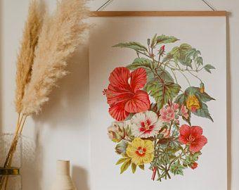 Vintage Hibiskus tropischen Blumendekor Druck